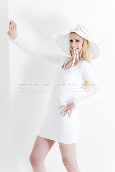 Pie · vestido · blanco · sombrero · mujeres - foto stock ...