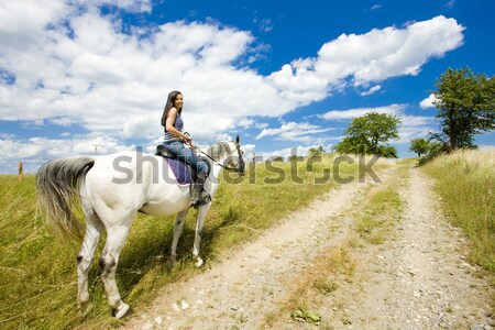 Lovas lóháton nő ló állatok fiatal Stock fotó © phbcz