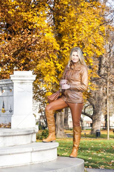 Kobieta stałego jesienny parku Wiedeń Austria Zdjęcia stock © phbcz