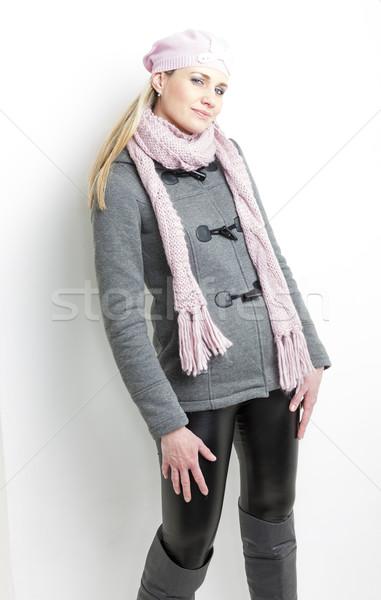 ストックフォト: 肖像 · 立って · 女性 · 着用 · 冬 · 服