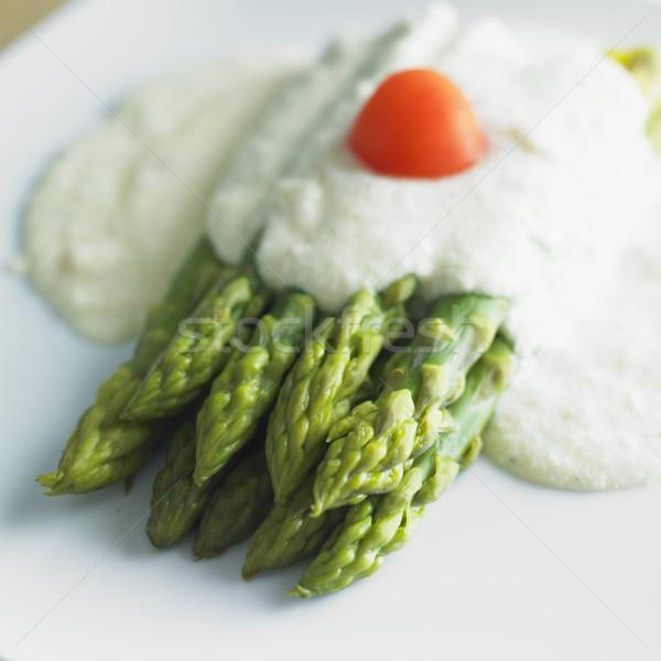Verde parmesão molho comida vegetal prato Foto stock © phbcz