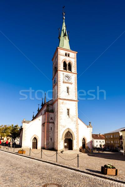 Csehország templom építészet torony város tér Stock fotó © phbcz