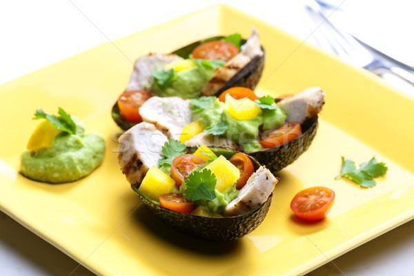 Avocado insalata di pollo piatto insalata pepe Foto d'archivio © phbcz