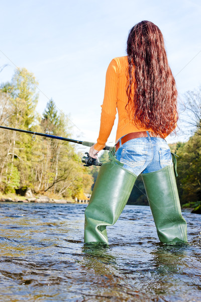 woman fishing in Otava river, Czech Republic Stock photo © phbcz