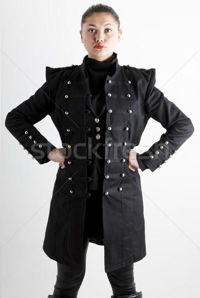 Portré áll fiatal nő visel extravagáns ruházat Stock fotó © phbcz