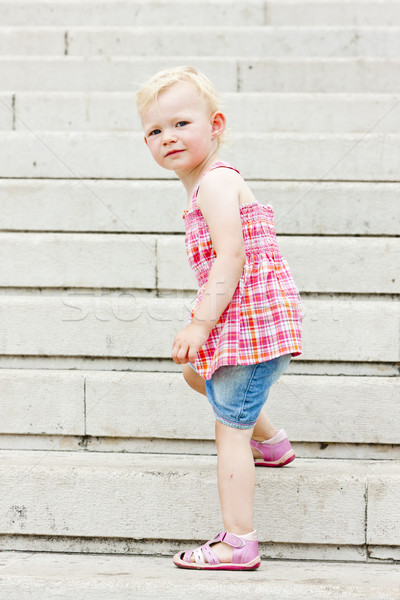 little girl on staircase Stock photo © phbcz