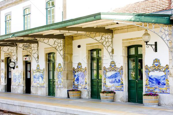 tiles (azulejos) at railway station of Pinhao, Douro Valley, Por Stock photo © phbcz