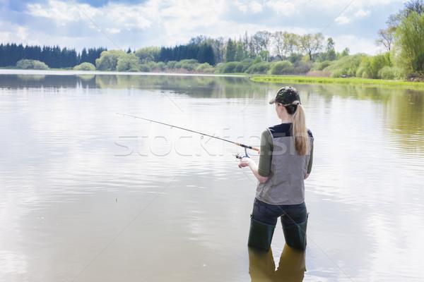 женщину рыбалки пруд весны женщины пейзаж Сток-фото © phbcz