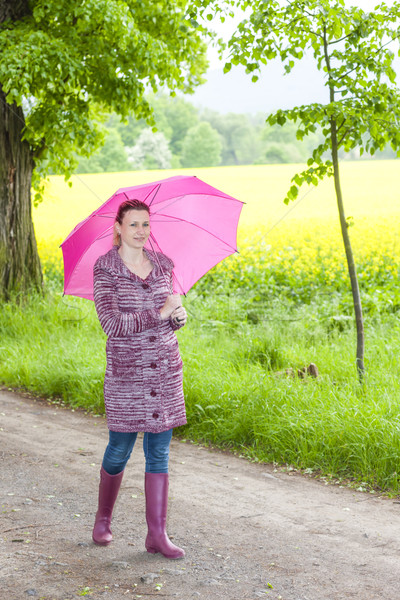 woman wearing rubber boots with umbrella in spring nature Stock photo © phbcz