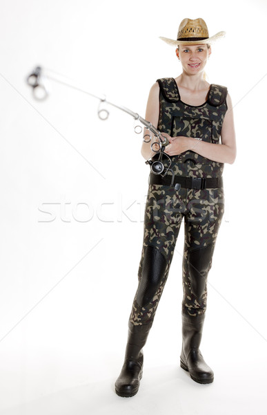 fisher woman with fishing rod in studio Stock photo © phbcz