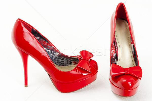 Divatos vágány piros cipők stílus tárgy Stock fotó © phbcz