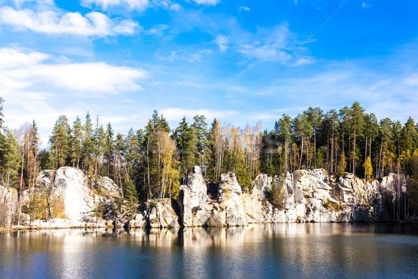 Tó kövek Csehország víz fa növény Stock fotó © phbcz