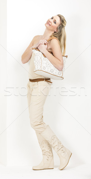 Foto stock: Em · pé · mulher · verão · roupa · botas