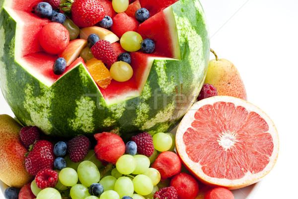 Vruchtensalade water meloen voedsel vruchten aardbei Stockfoto © phbcz