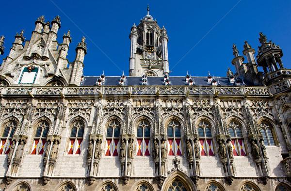 Stadhuis Nederland gebouw architectuur huizen standbeeld Stockfoto © phbcz