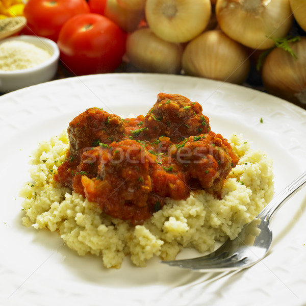 meat balls with couscous in tomato sauce Stock photo © phbcz