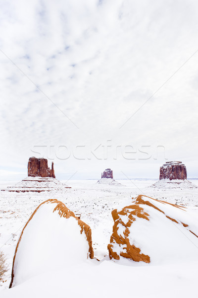 winter The Mittens and Merrick Butte, Monument Valley National P Stock photo © phbcz