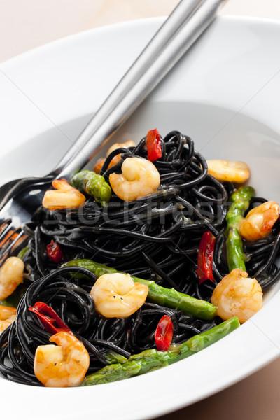 Stockfoto: Sepia · spaghetti · asperges · chili · plaat