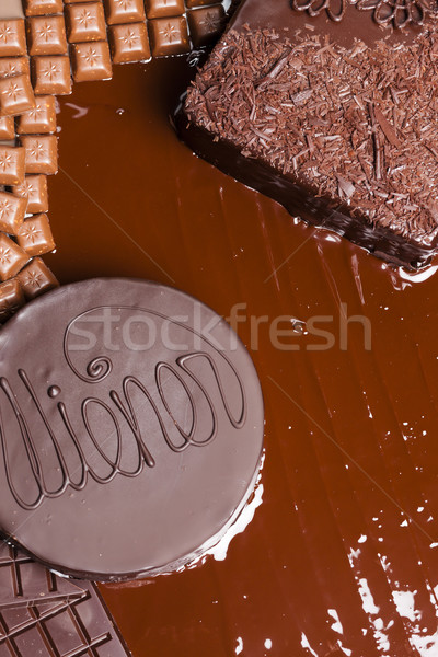 still life of chocolate with Wiener cake and chocolate cake Stock photo © phbcz
