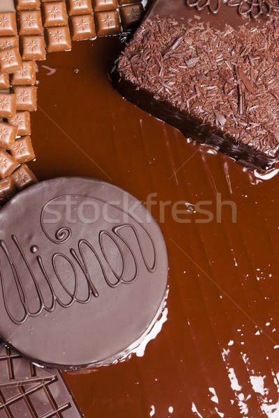 Natureza morta chocolate bolo bolo de chocolate comida aniversário Foto stock © phbcz