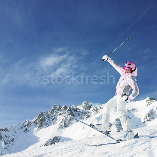 woman skier, Alps Mountains, Savoie, France Stock photo © phbcz