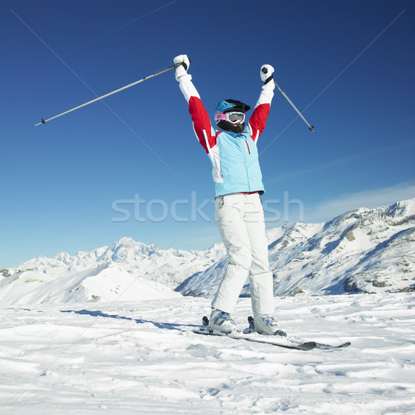 Femme skieur alpes montagnes France sport Photo stock © phbcz