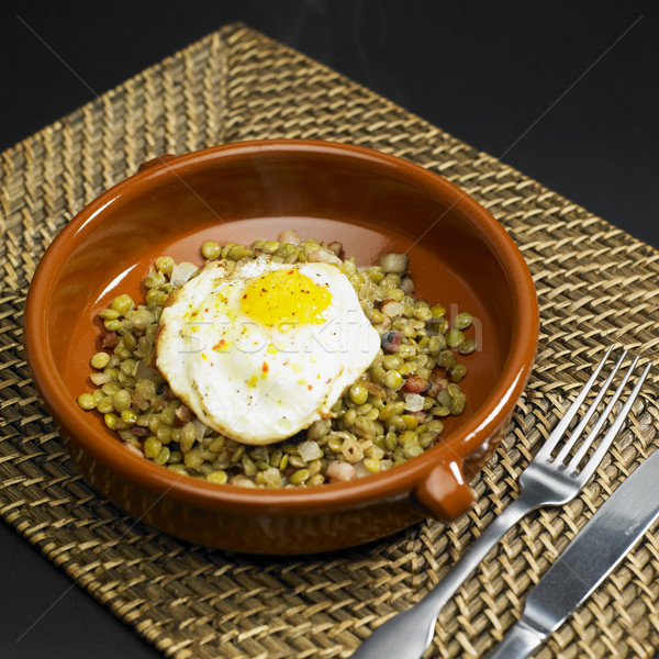 New Year''s lentils with fried egg Stock photo © phbcz