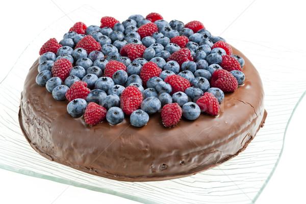 Stock fotó: Csokoládés · sütemény · málna · áfonya · étel · gyümölcs · csokoládé