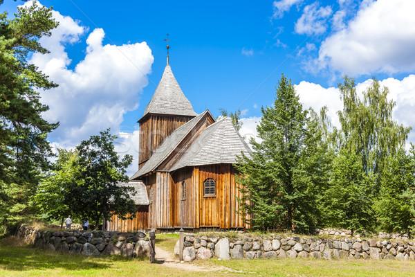 wooden church, Kaszubski ethnographic park in Wdzydzki Park Kraj Stock photo © phbcz