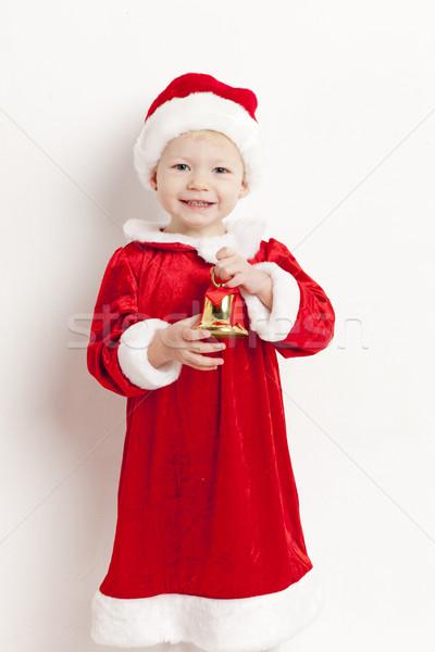 Stockfoto: Meisje · kerstman · bel · meisje · kinderen · kind