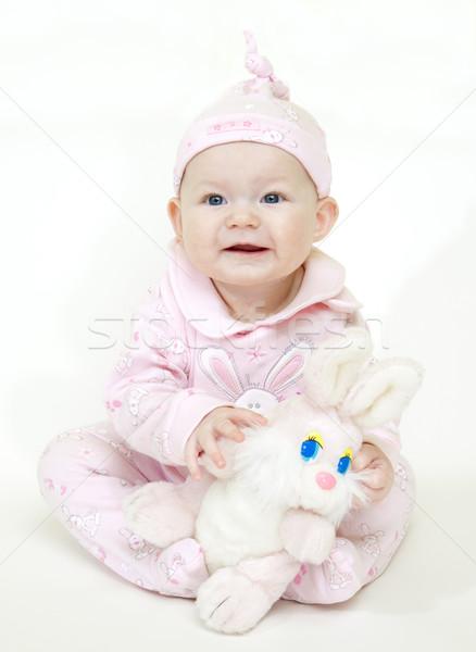 ül kislány nyúl játék gyerekek gyermek Stock fotó © phbcz