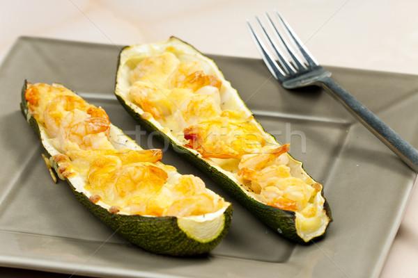 Gebacken Garnelen Zucchini Gemüse Essen Gericht Stock foto © phbcz