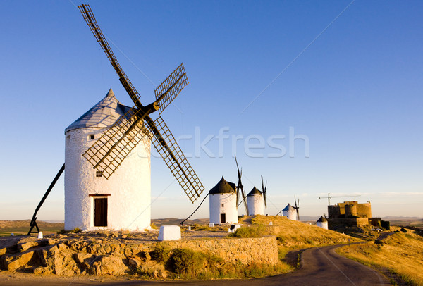 windmills with castle, Consuegra, Castile-La Mancha, Spain Stock photo © phbcz