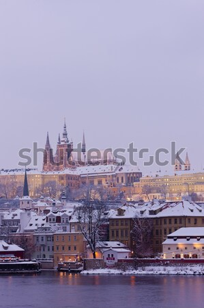 Hradcany with Charles bridge in winter, Prague, Czech Republic Stock photo © phbcz