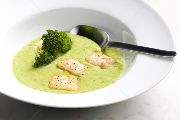 Broccoli soep makreel vis plaat lepel Stockfoto © phbcz