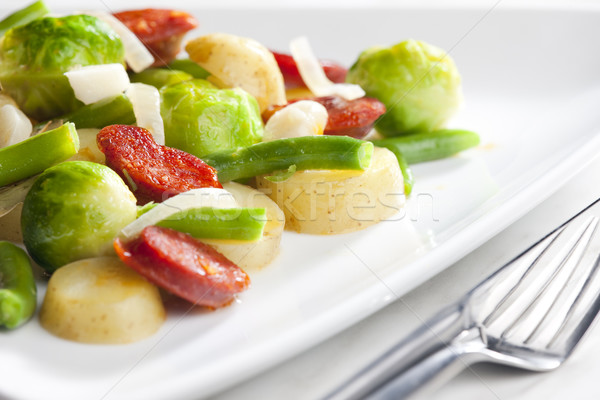 овощей смесь колбаса картофель продовольствие вилка Сток-фото © phbcz