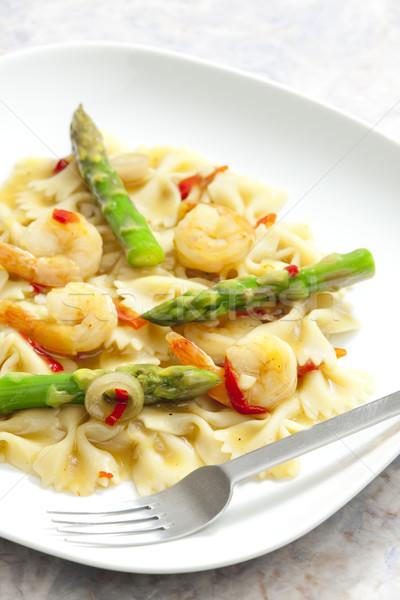 Hot makaronu szparagów żywności widelec Zdjęcia stock © phbcz