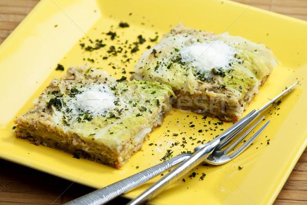 Káposzta lasagne füstölt hús étel sajt Stock fotó © phbcz
