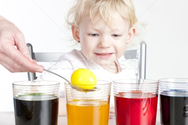 Stok fotoğraf: Küçük · kız · paskalya · yumurtası · çocuk · portre · yumurta · çocuk