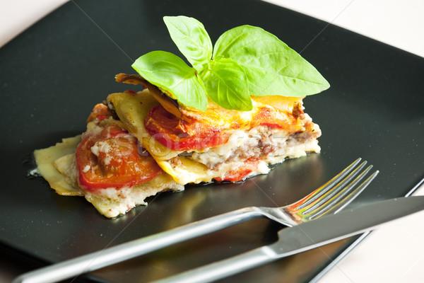 Lasanha Turquia carne tomates prato garfo Foto stock © phbcz