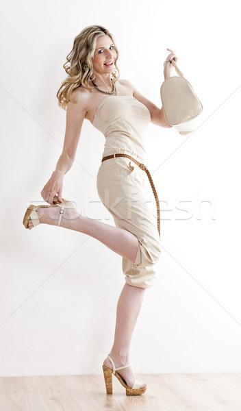 Foto d'archivio: Piedi · donna · indossare · estate · vestiti · scarpe