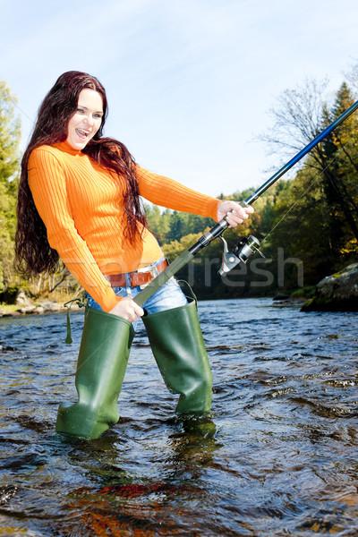 женщину рыбалки реке Чешская республика женщины молодые Сток-фото © phbcz