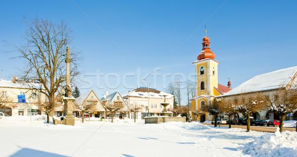 Foto stock: República · Checa · neve · edifícios · arquitetura · cidade · praça