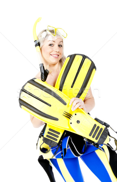 portrait of young woman wearing neoprene with snorkeling equipme Stock photo © phbcz