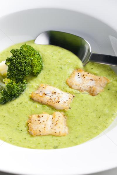 Brócolis sopa cavala peixe prato colher Foto stock © phbcz