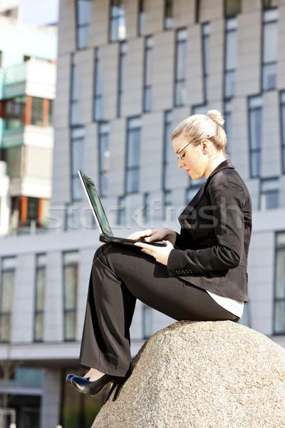 Stockfoto: Vergadering · jonge · zakenvrouw · notebook · computer · vrouwen