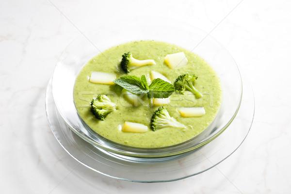Stockfoto: Aardappel · broccoli · soep · groene · plaat