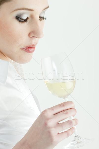 Porträt Verkostung Weißwein Frau Person Stock foto © phbcz
