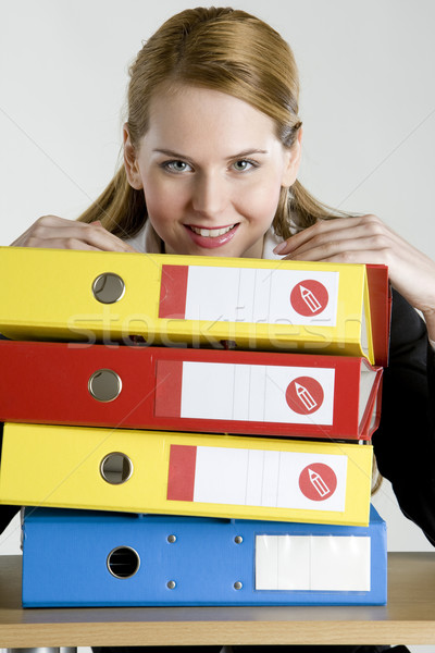 portrait of businesswoman with folders Stock photo © phbcz