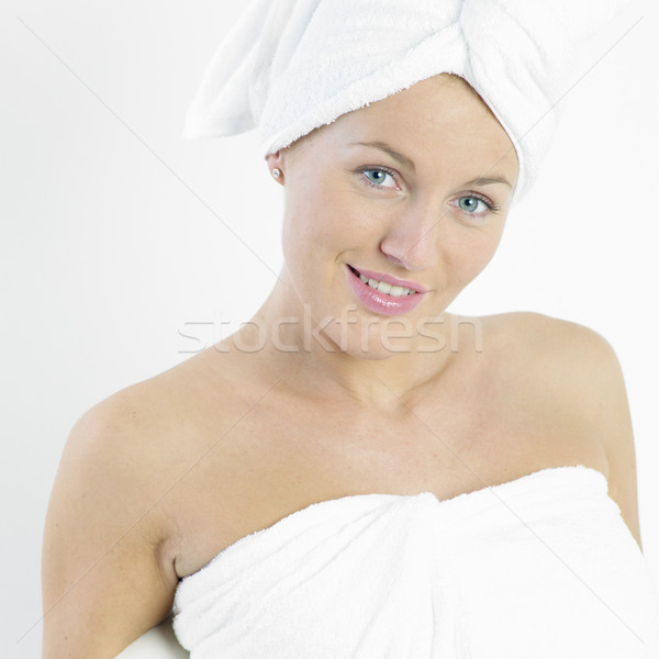 Vrouw tulband gezondheid schoonheid jonge alleen Stockfoto © phbcz
